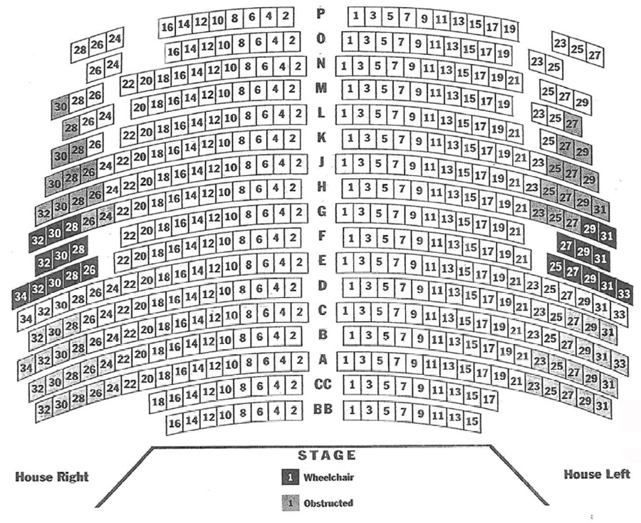 Olney Theatre Historic Stage Seating Chart